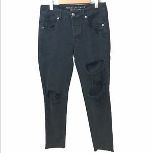 AEO Tomgirl Distressed Jeans Black Size 2
